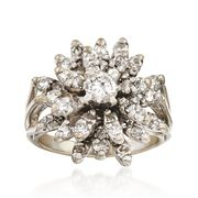C. 1970 Vintage 1.60 ct. t.w. Diamond Floral Cluster Ring in 14kt White Gold. Size 4