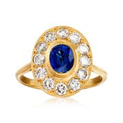C. 1980 Vintage 1.00 Carat Sapphire and 1.00 ct. t.w. Diamond Ring in 18kt Yellow Gold. Size 6.75
