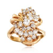 C. 1980 Vintage 1.40 ct. t.w. Diamond Cluster Ring in 14kt Yellow Gold. Size 6