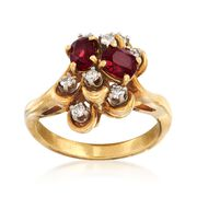 C. 1970 Vintage .90 ct. t.w. Ruby and .20 ct. t.w. Diamond Cluster Ring in 18kt Yellow Gold. Size 6.5