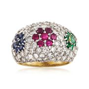 C. 1990 Vintage 2.10 ct. t.w. Diamond Dome Ring With .95 ct. t.w. Multi-Stones in 18kt Yellow Gold. Size 5.5