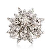 C. 1970 Vintage 1.60 ct. t.w. Diamond Floral Burst Ring in 14kt White Gold. Size 5.5
