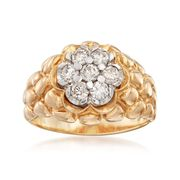 C. 1980 Vintage 1.15 ct. t.w. Diamond Cluster Ring in 14kt Yellow Gold. Size 11.5