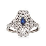 C. 1980 Vintage .25 Carat Sapphire Filigree Ring With Diamond Accents in 14kt White Gold. Size 8