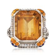 C. 1950 Vintage 8.50 Carat Citrine Ring With Cultured Pearls and Multicolored Enamel in 10kt White Gold. Size 4.25