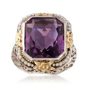 C. 1950 Vintage 7.50 Carat Amethyst Ring With Cultured Seed Pearls in 14kt Two-Tone Gold. Size 6