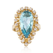 C. 1980 Vintage 4.30 Carat Aquamarine and .70 ct. t.w. Diamond Ring in 14kt Yellow Gold. Size 5
