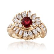 C. 1980 Vintage .80 Carat Ruby and 1.80 ct. t.w. Diamond Ring in 14kt Yellow Gold. Size 5