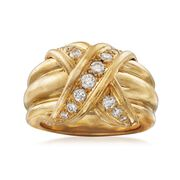 "C. 1990 Vintage Tiffany Jewelry ""Schlumberger"" .45 ct. t.w. Diamond X Ring in 18kt Yellow Gold. Size 4.5"