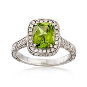C. 2000 Vintage 1.50 Carat Peridot and 1.10 ct. t.w. Diamond Ring in Platinum. Size 5
