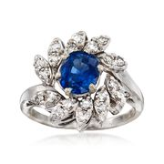 C. 1970 Vintage 1.50 Carat Sapphire and .75 ct. t.w. Diamond Ring in 14kt White Gold. Size 6.5