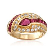 C. 1990 Vintage 1.80 ct. t.w. Ruby and .75 ct. t.w. Diamond Dome Ring in 18kt Yellow Gold. Size 5.5