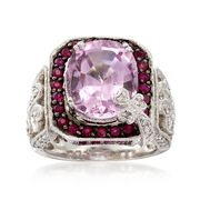 C. 2000 Vintage 6.10 Carat Kunzite and .70 ct. t.w. Ruby Ring With Diamonds in 14kt White Gold. Size 5