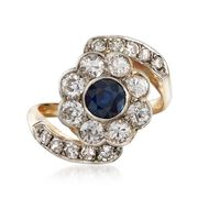 C. 1950 Vintage .55 Carat Sapphire and 1.25 ct. t.w. Diamond Floral Ring in Platinum and 14kt Yellow Gold. Size 5.75