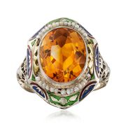 C. 1950 Vintage 4.00 Carat Citrine and Cultured Seed Pearl Ring With Enamel in 14kt Two-Tone Gold. Size 6.5