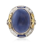 C. 1950 Vintage Blue Chalcedony Floral Ring With Blue and White Enamel in 14kt White Gold. Size 3.25