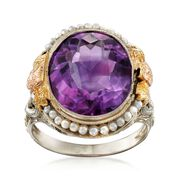 C. 1950 Vintage 6.00 Carat Amethyst and Cultured Seed Pearl Floral Ring in 18kt Tri-Colored Gold. Size 6
