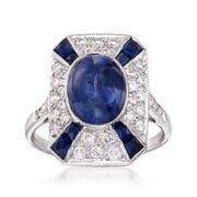 C. 2000 Vintage 4.45 ct. t.w. Sapphire and .45 ct. t.w. Diamond Ring in 18kt White Gold. Size 7