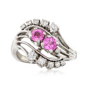 C. 1960 Vintage .80 ct. t.w. Pink Sapphire and .36 ct. t.w. Diamond Ring in 18kt White Gold. Size 6