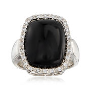 C. 1980 Vintage Black Onyx and .30 ct. t.w. Diamond Ring in 14kt White Gold. Size 7