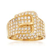 C. 1990 Vintage 1.22 ct. t.w. Diamond Buckle Ring in 18kt Yellow Gold. Size 7