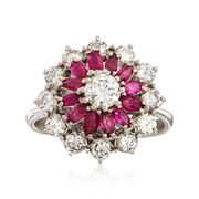 C. 1970 Vintage .85 ct. t.w. Ruby and 1.30 ct. t.w. Diamond Cluster Ring in 18kt White Gold. Size 6