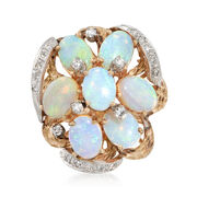 C. 1970 Vintage Opal and .50 ct. t.w. Diamond Cluster Ring in 14kt Yellow Gold. Size 6