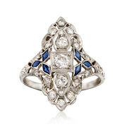 C. 1980 Vintage .75 ct. t.w. Diamond and .25 ct. t.w. Synthetic Sapphire Dinner Ring in Platinum. Size 6.5
