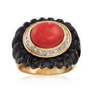 C. 1980 Vintage Orange Coral and Black Onyx Ring With .35 ct. t.w. Diamonds in 14kt Yellow Gold. Size 6.75