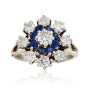 C. 1970 Vintage 1.40 ct. t.w. Diamond and .65 ct. t.w. Sapphire Cluster Ring in 14kt White Gold. Size 6