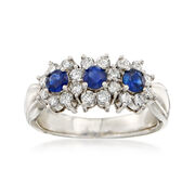 C. 1980 Vintage .50 ct. t.w. Sapphire and .51 ct. t.w. Diamond Ring in Platinum. Size 5.75