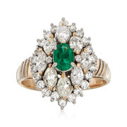 C. 1980 Vintage .38 Carat Emerald and 1.45 ct. t.w. Diamond Ring in 18kt Two-Tone Gold. Size 6.5