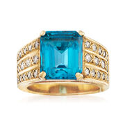 C. 1960 Vintage 5.60 Carat Blue Topaz and .65 ct. t.w. Diamond Ring in 14kt Yellow Gold. Size 5.5
