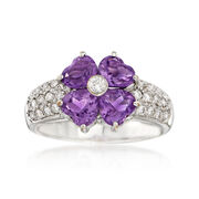 C. 2000 Vintage 1.50 ct. t.w. Amethyst and .41 ct. t.w. Diamond Floral Ring in 18kt White Gold. Size 6.25