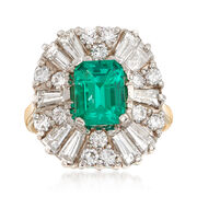C. 1980 Vintage 1.90 Carat Emerald and 2.85 ct. t.w. Diamond Ring in 14kt Yellow Gold. Size 6.5