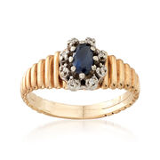C. 1980 Vintage .25 Carat Sapphire Ring With Diamond Accents in 10kt Yellow Gold. Size 5