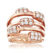C. 1980 Vintage 1.20 ct. t.w. Diamond Highway Ring in 18kt Rose Gold. Size 7
