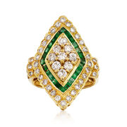 C. 1980 Vintage 1.52 ct. t.w. Diamond and .80 ct. t.w. Emerald Navette Ring in 18kt Yellow Gold. Size 6