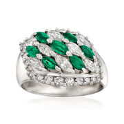 C. 1980 Vintage .71 ct. t.w. Emerald and 1.41 ct. t.w. Diamond Ring in Platinum. Size 7