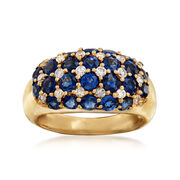 C. 1990 Vintage 2.80 ct. t.w. Sapphire and .32 ct. t.w. Diamond Multi-Row Ring in 18kt Yellow Gold. Size 5.5