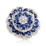 C. 2000 Vintage 5.50 ct. t.w. Sapphire and 1.00 ct. t.w. Diamond Cluster Ring in Platinum. Size 6
