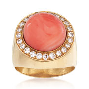 C. 1980 Vintage Round Coral and .60 ct. t.w. Diamond Ring in 14kt Yellow Gold. Size 5