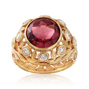 C. 1970 Vintage 4.65 Carat Rubellite and .80 ct. t.w. Diamond Floral Ring in 14kt Yellow Gold. Size 7.5