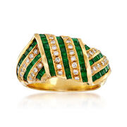 C. 1980 Vintage 1.80 ct. t.w. Emerald and .34 ct. t.w. Diamond Multi-Row Crossover Ring in 18kt Yellow Gold. Size 6