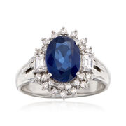 C. 1990 Vintage 2.19 Carat Sapphire and .54 ct. t.w. Diamond Ring in Platinum. Size 6