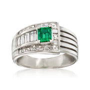 C. 1990 Vintage .50 Carat Emerald and 1.08 ct. t.w. Diamond Ring in Platinum. Size 7