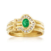 C. 1980 Vintage .35 Carat Emerald and .45 ct. t.w. Diamond Arrow Ring in 18kt Yellow Gold. Size 8