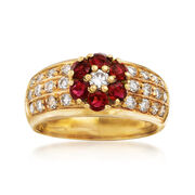 C. 1990 Vintage .90 ct. t.w. Ruby and .75 ct. t.w. Diamond Floral Ring in 18kt Yellow Gold. Size 7.25