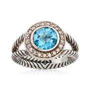C. 1990 Vintage David Yurman 2.05 Carat Blue Topaz and .25 ct. t.w. Diamond Ring in Sterling Silver. Size 7.25