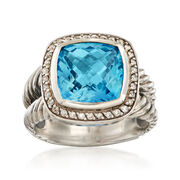 C. 1990 Vintage David Yurman 7.25 Carat Blue Topaz and .25 ct. t.w. Diamond Ring in Sterling Silver. Size 7.75